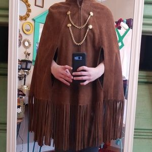 VTG Carmen's Brown Leather Fringe Poncho